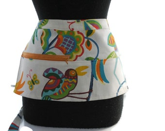 Vendor Apron Server Apron Travel Apron Birds and Flowers Toucan Cotton Twill