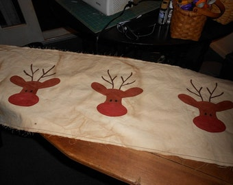 Whimisical Hand Painted Prim Reindeer Primitive Table Runner