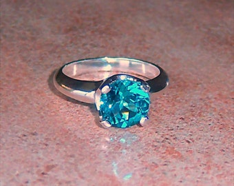 8mm Swiss Blue Topaz Argentium Sterling Silver Ring, Cavalier Creations