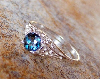 London Blue Topaz Sterling Silver Filigree Ring, Cavalier Creations