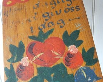 shabby vintage Scandinavian folk art painted wood cutting board food blessing