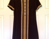 ROUTE ONE 1970's Brown Polyester Mini dress, size M/L