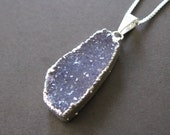 Rough Raw Lavender Gray Purple Drusy Sterling Pendant Quartz Druzy Necklace 18""