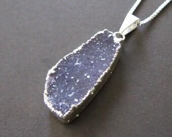"Rough Raw Lavender Gray Purple Drusy Sterling Pendant Quartz Druzy Necklace 18"""