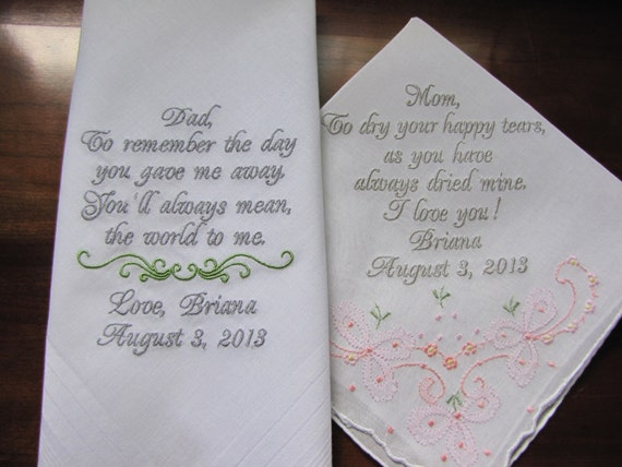 Personalized Wedding Handkerchiefs For Parents Of By
