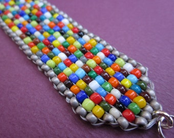 Indian love beads - rainbow mix - multicolor hand-loomed square stitch cuff bracelet