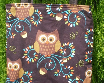 Owls Owl Tote Bag Acorn Fall Autumn Leaves Leaf Handmade Purse Limited