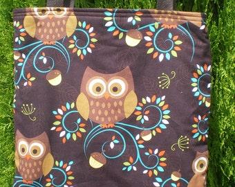 Owls Owl Tote Bag Acorn Fall Autumn Leaves Leaf Handmade Purse Limited