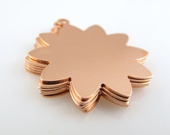 """Sale - COPPER 10-PETAL FLoWER w/RiNG, 1"""",  25mm,  Stamping Blank Personalized Jewelry Nature Tree Scrapbooking 24 Gauge Qty 6"""