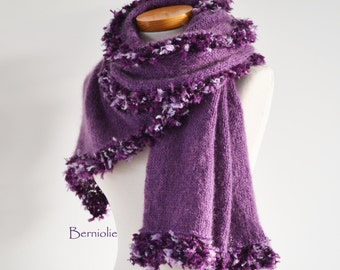 Purple knitted shawl with fun trim, M127