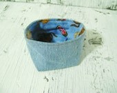 CLEARANCE Denim and Cowboy Fabric Bowl Bin Container for Organizing