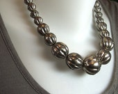 SPECIAL LISTING for Mar only - Vintage Tribal Graduated Bead Necklace - Hollow Ridged Gunmetal Silver Beads