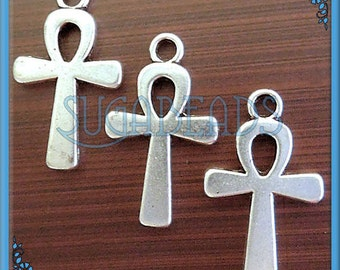 12 Egyptian Ankh Charms in Antiqued Silver 22mm x 13mm PS23