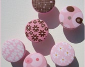 Patterned Knobs • Daisy • Bubbles • Stripe • Pink • Brown • Drawer Pulls • Dresser Knobs • Drawer Knobs