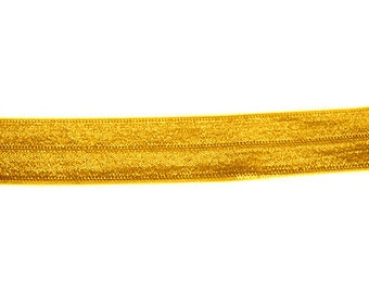5 YARDS 5/8 inches Fold Over Elastics FOE - Bright Yellow