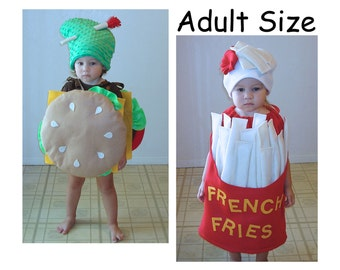 Adult Halloween Costumes Cheeseburger and Fries Couples Costumes French Fry Burger Hamburger Cheese McDonalds In n Out Jack in the Box