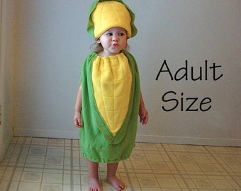 Adult Corn on the Cob Costume Hallowen Teen Couple Group Twin Set Vegetable Purim Photo Prop