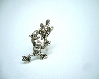 silver turtle frog ring, adjustable ring, animal ring, silver ring, statement ring