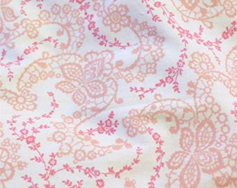 Rachel Ashwell Floral Stitch White Pink cotton poplin Shabby Chic Home Collection fabric