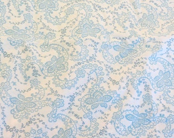Rachel Ashwell Floral Stitch White Blue cotton poplin Shabby Chic Home Collection fabric