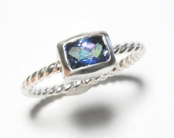 Cushion Cut Kashmir Blue Topaz and Silver Ring