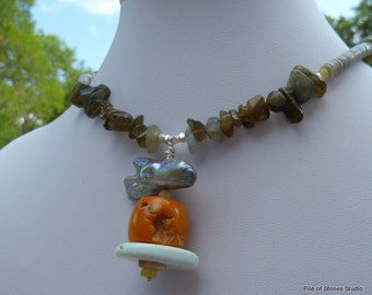 Ancient Mariner* Necklace Ocean Inspired Jewelry Gemstones & Biwa Pearl Jewelry Rugged Orange Coral Necklace Organic Earthy Sea Necklace