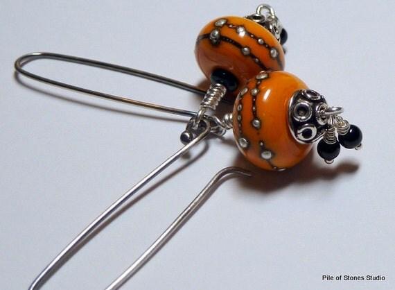 Earrings, Long & Lovely, Orange Artisan Lampwork, Fine Silver, Elongated Sterling Silver French Wires, Bali Silver Beadcaps, Organic Fashion