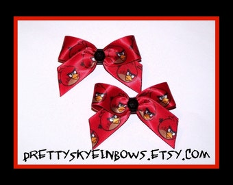 Small Angry Birds Boutique Hair Bow Clip Pigtail Set in Red