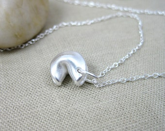 Fortune Cookie Necklace Recycled Silver Eco Friendly Jewelry Chinese Take Out Food Jewelry Sterling Silver Good Luck - Good Fortune