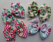 Christmas Holiday Bows - Chevron Trees Holly Pinwheel - No Slip Velvet Grip Hair Clip