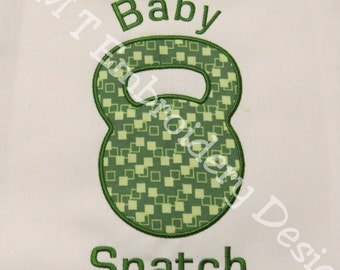 Kettle Bell - Baby Snatch - Crossfit -  Applique Designs - 2 sizes