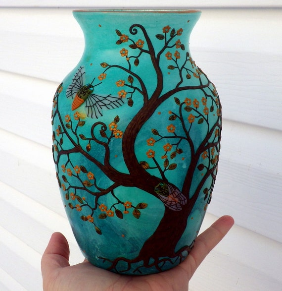 The Cicada Tree with Copper Blossoms Sculpted with Polymer Clay onto a Turquoise Recycled Glass Art Vase