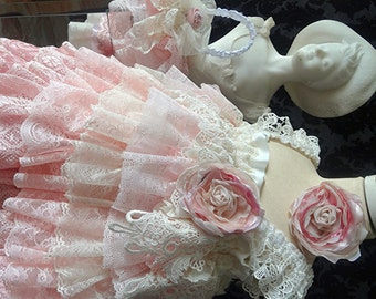 Flower Girl Dress,  Shades of pink, Ivory vintage lace dress, rustic wedding, Pageant, birthday party special occasion