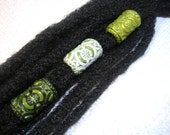 Dread Beads Choice of Olive  Embossed Dreadlock  Beads  Set of 3   You Choose Hole Size