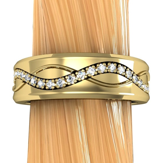 Diamond Wedding Ring in 14k White or Yellow Gold, Medium Width Band, Eternity Sine Wave Pattern - Free Gift Wrapping