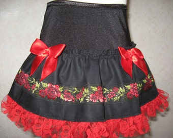 NEW Black,Red,Green Floral Frilly lace Skirt,Punk,Retro,-All sizes,Goth,Rock,Lolita,sequoia