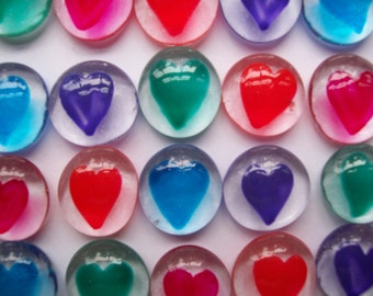 Hand painted glass gems party favors colorful hearts heart   set of 50