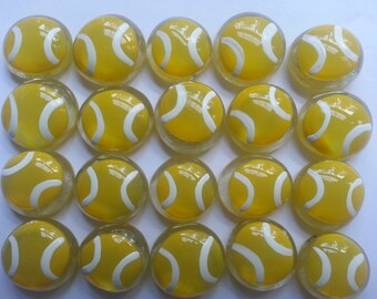 Hand painted glass gems party favors Tennis BALLS BALL