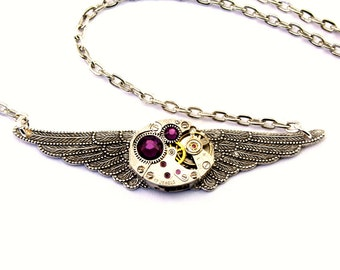 Purple Amethyst Steampunk Necklace February Birthstone Winged Clockwork Watch Movement Pendant Gothic Angel Wings by London Particulars