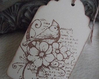Vintage Inspired Tags...5 Piece Set of Very Elegant Seasons and Nature Vintage Inspired Scrapbooking ScallopTags
