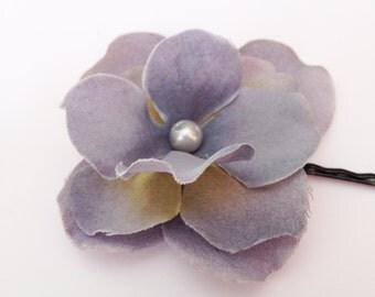 Blue Flower Hair Pin -- Cornflower Blue Hydrangea Flower Hair Clip / Bobby Pin - Wedding Hair Accessory