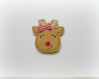 Reindeer Applique, Christmas Felt Appliques, Reindeer with Red Nose