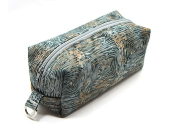 Medium Zipper Box Pouch Project or Travel Case  Gray Tree Circles Batik