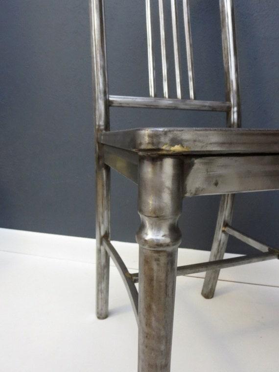 Vintage Industrial Chair 1920s Bare Steel Simmons Metal