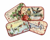 Christmas Bird Gift Tags, Vintage Chrstmas Birds, Christmas Gift Tags, Gift Wrap, Holiday Tags, Birds on Snowy Branch, Nature Christmas Tag