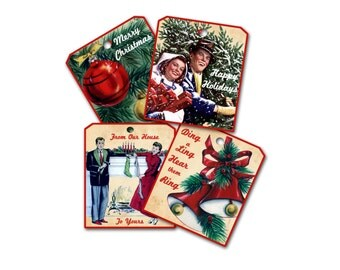 Retro Christmas Gift Tags, Fun Retro Mid Century Christmas tags, 1950's I Love Lucy Sitcom Style Christmas Bells Couple Tree, Cookie Swap