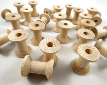 25 Wood Spools, Round - 7/8 inch Unfinished Wooden Thread Spools for DIY