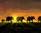 elephant art, elephant print, elephant painting, African animal, wildlife, nature, tusks, sunset, sunrise, baby elephant, calf, marching