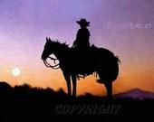 western art, cowboy art, Lady Rider, painting, print, sunset, horseback, horse riding, sunrise, into the sunset, steed, in the saddle