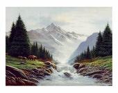 mountain art,  landscape print, bear art, waterfall painting  bear and cubs, river, bear fishing, rushing waters, waterfall